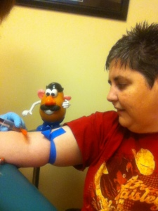Ohiophotogrl and I getting our blood drawn